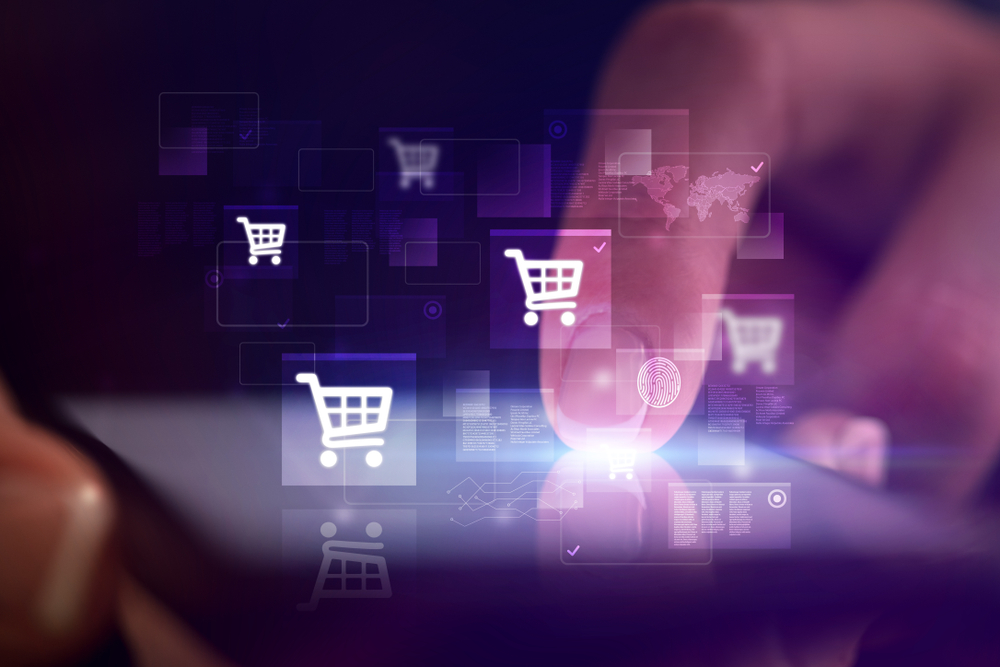 Finger touching phone with online shopping concept and dark background
